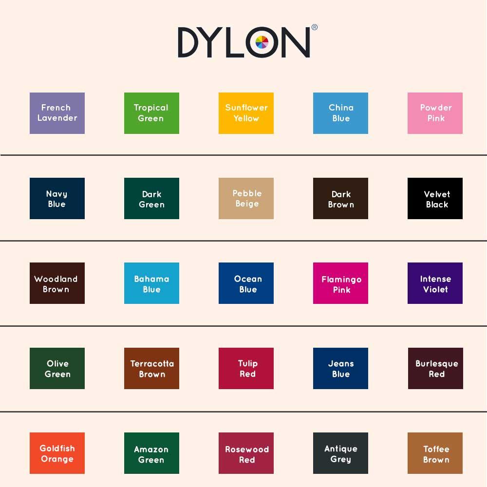 Dylon farvekort - oversigt over Dylon tøjfarver