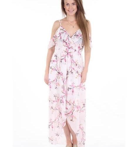 Trina Lang Floral Kjole Hvid Onesize